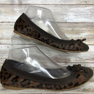 Sperry 7.5M Brown Leather Faux Calf Hair Flats